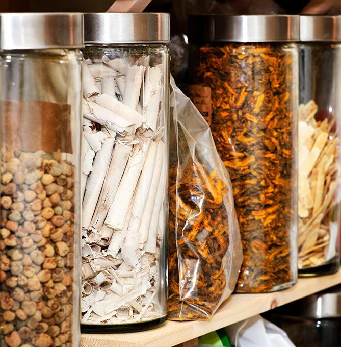 Practitioners combine herbs based on the diagnosis using herbal formulas